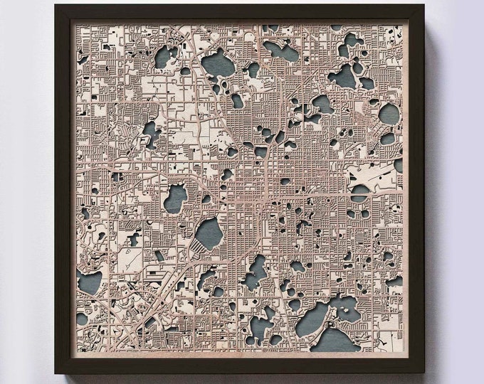 Orlando Wood Map - 5th Anniversary Gift - Custom Wooden Map Laser Cut Framed Maps Wall Art - Wedding Engagement Gift for Couple