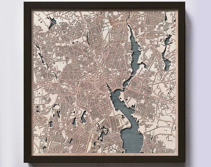 Providence Wood Map - 5th Anniversary Gift - Custom Wooden Map Laser Cut Framed Maps Wall Art - Wedding Engagement Gift for Couple