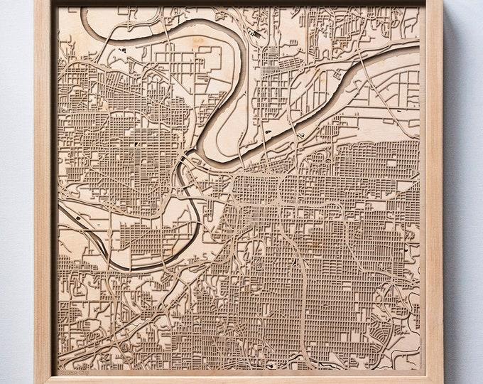 Kansas City Wooden Map - Laser Cut Wood Streets Maps 3d Framed Minimal Minimalist Wall Art - Birthday Anniversary Christmas Wedding Gift
