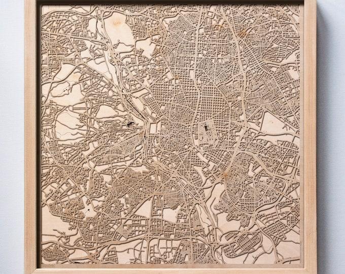 Madrid Wooden Map - Laser Cut Wood Streets City Maps 3d Framed Minimal Minimalist Wall Art - Birthday Anniversary Christmas Wedding Gift