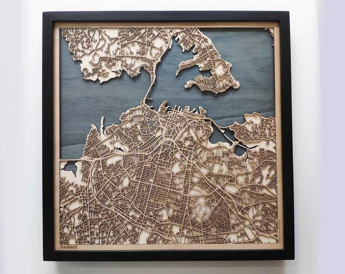 Auckland Wood Map - 5th Anniversary Gift - Custom Wooden Map Laser Cut Framed Maps Wall Art - Wedding Engagement Gift for Couple