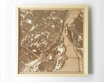 Montreal Wooden Map - Pinewood Laser Cut Streets City Maps 3d Framed Minimal Minimalist Wall Art Wood - Birthday Christmas Wedding Gift