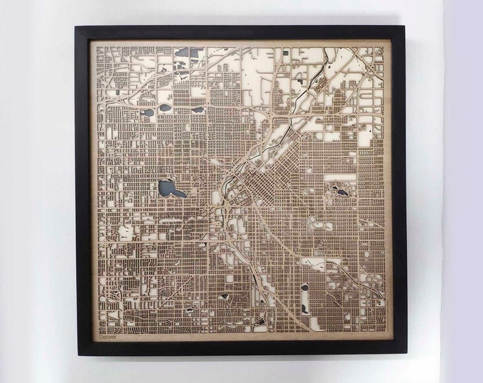 Denver Wood Map - 5th Anniversary Gift - Custom Wooden Map Laser Cut Framed Maps Wall Art - Wedding Engagement Gift for Couple
