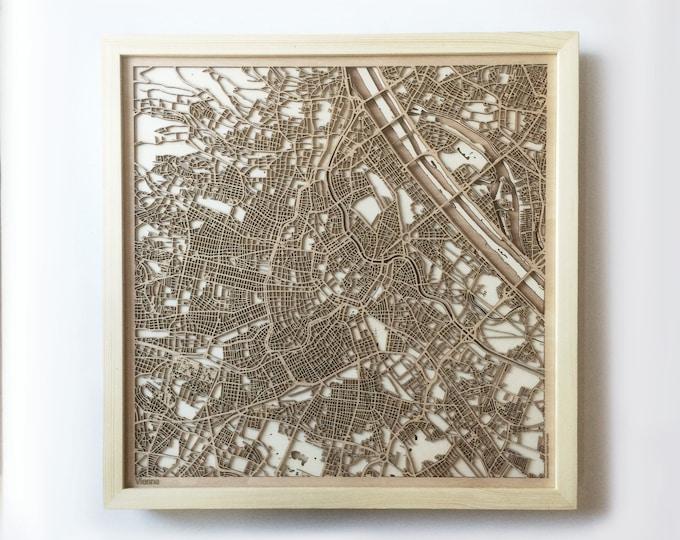Vienna Wooden Map -Laser Cut Wood Streets City Maps 3d Framed Minimal Minimalist Wall Art - Birthday Anniversary Christmas Wedding Gift