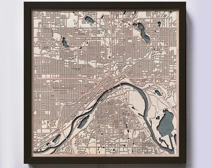 St Paul Wood Map - 5th Anniversary Gift - Custom Wooden Map Laser Cut Framed Maps Wall Art - Wedding Engagement Gift for Couple