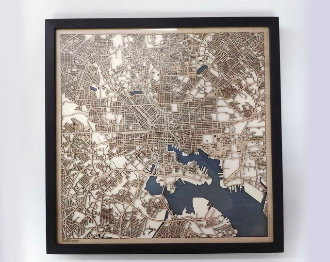 Baltimore Wood Map - 5th Anniversary Gift - Custom Wooden Map Laser Cut Framed Maps Wall Art - Wedding Engagement Gift for Couple