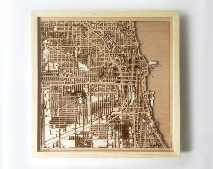 Chicago Wooden Map - Pinewood Laser Cut Wood Streets City Maps 3d Framed Minimal Minimalist Wall Art -Birthday Christmas Wedding Gift