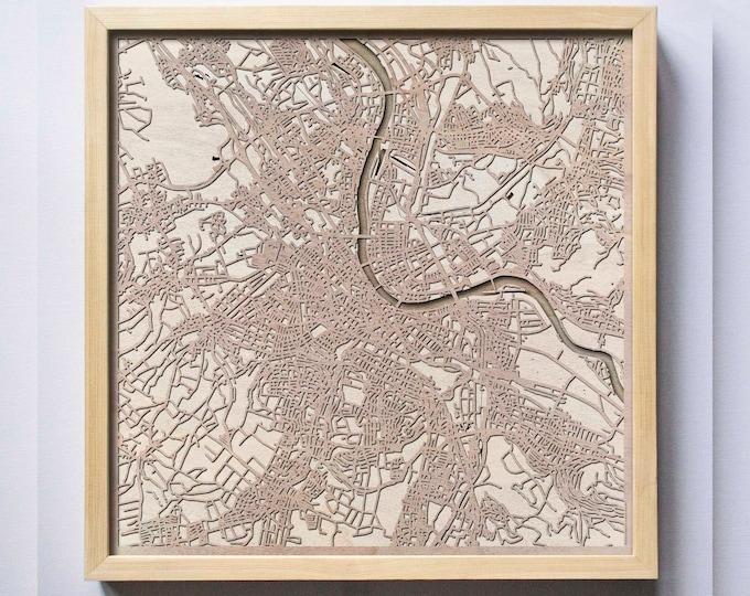 Basel Wooden Map -Laser Cut Wood Streets City Maps 3d Framed Minimal Minimalist Wall Art - Birthday Anniversary Christmas Wedding Gift