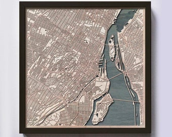 Montreal Wood Map - 5th Anniversary Gift - Custom Wooden Map Laser Cut Framed Maps Wall Art - Wedding Engagement Gift for Couple