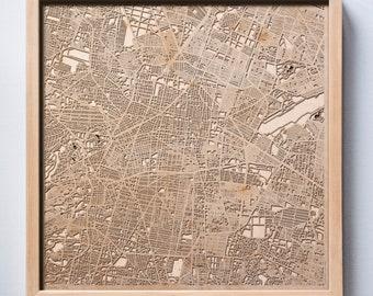 Mexico City Wooden Map -Laser Cut Wood Streets City Maps 3d Framed Minimal Minimalist Wall Art - Birthday Anniversary Christmas Wedding Gift