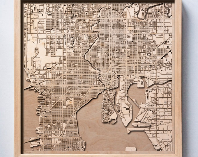 Tampa Wooden Map -Laser Cut Wood Streets City Maps 3d Framed Minimal Minimalist Wall Art - Birthday Anniversary Christmas Wedding Gift