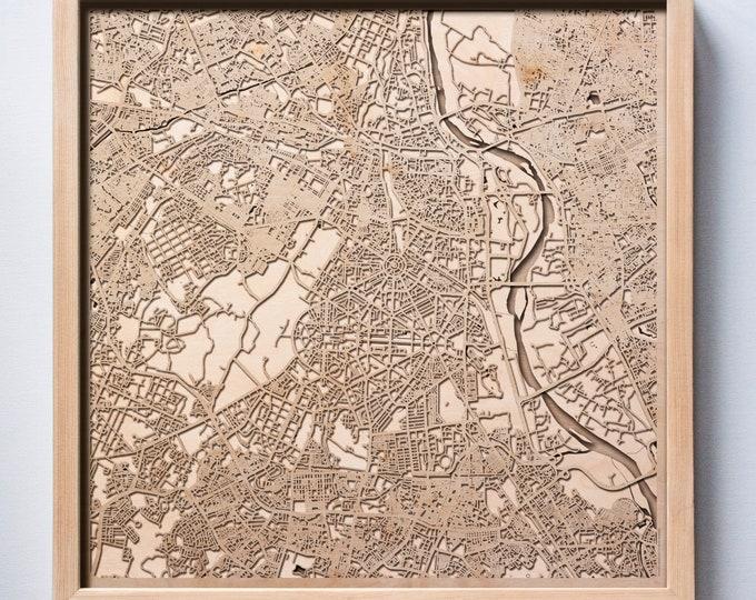 New Delhi Wooden Map -Laser Cut Wood Streets City Maps 3d Framed Minimal Minimalist Wall Art - Birthday Anniversary Christmas Wedding Gift