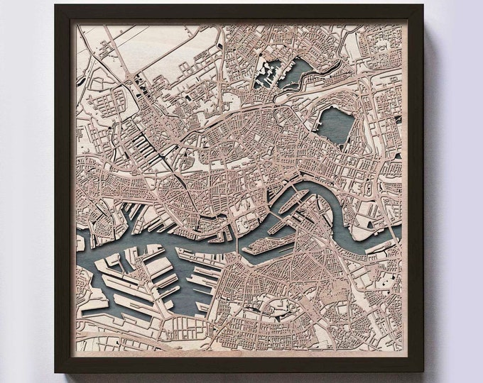 Rotterdam Wood Map - 5th Anniversary Gift - Custom Wooden Map Laser Cut Framed Maps Wall Art - Wedding Engagement Gift for Couple