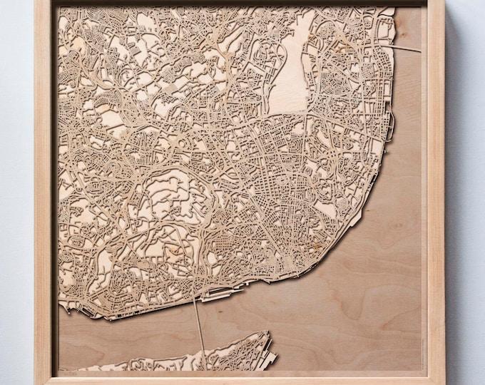 Lisbon Wooden Map - Pinewood Laser Cut Streets City Maps 3d Framed Minimal Minimalist Wall Art Wood - Birthday Christmas Wedding Gift