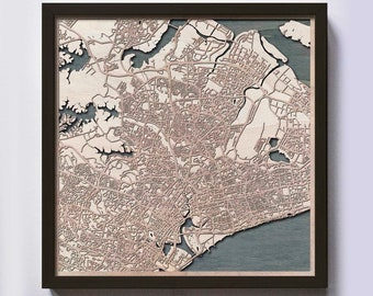 Singapore Wood Map - 5th Anniversary Gift - Custom Wooden Map Laser Cut Framed Maps Wall Art - Wedding Engagement Gift for Couple