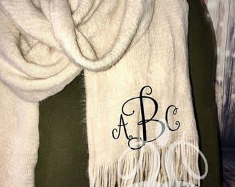 Oversized Faux Cashmere Cream Scarf | Long Monogrammed Scarf
