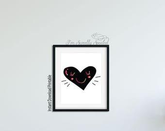 Heart, Heart Print, Heart Printable, Love Print, Love Printable, Heart Art, Printable Art, Printable Wall Art, Nursery Decor, Nursery Art