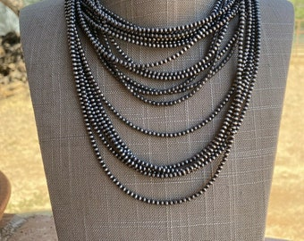 antiqued and a hand done satin finish ON SALE Bead necklace...3mm beads and 24 long in sterling silver 925
