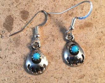 Navajo Handmade Sterling Silver Bear Paw Turquoise Earrings Janice Spencer