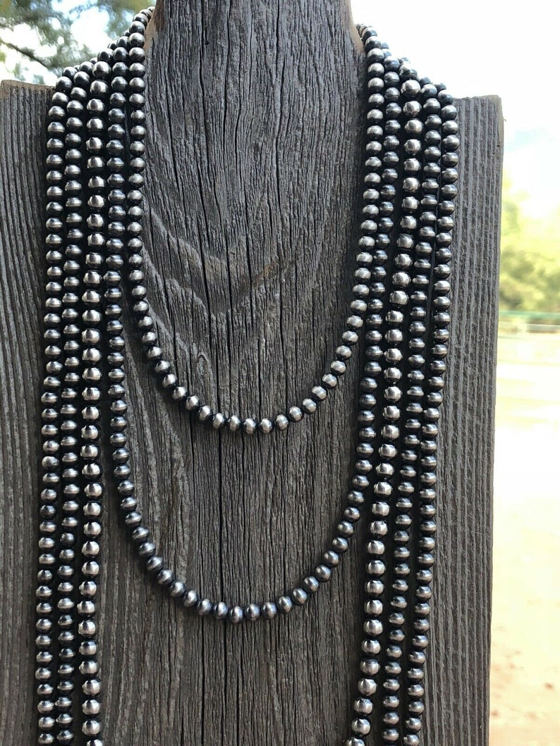 Length-30 inch Navajo Sterling Silver Pearls 5mm