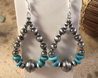 Navajo Sterling Silver Pearl And Turquoise Beaded Dangle Earrings