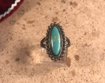 Vintage Navajo Sterling Silver And Turquoise Ring Size 8 Signed