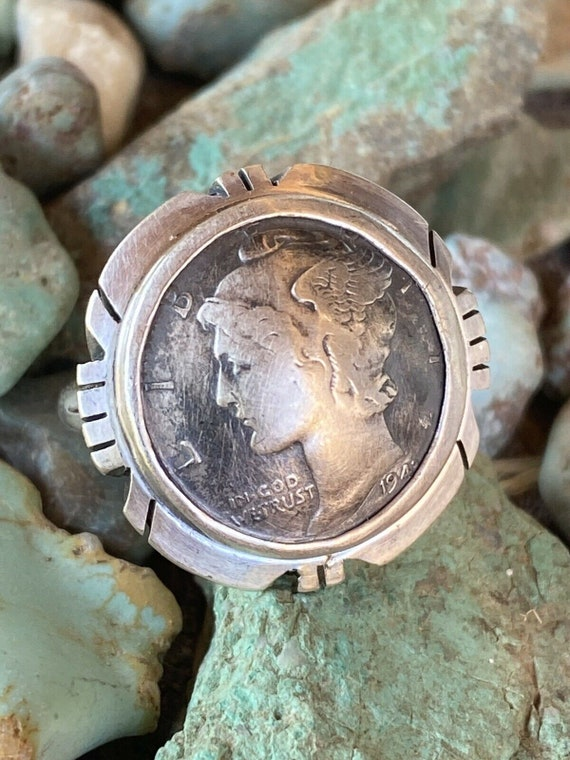 Navajo Sterling Silver Liberty Dime Ring