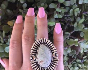 Genevieve James Dry Creek Turquoise & Sterling Statement Ring Size 9 Signed