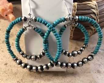 Navajo Sterling Silver And Turquoise Beaded Dangle Earrings