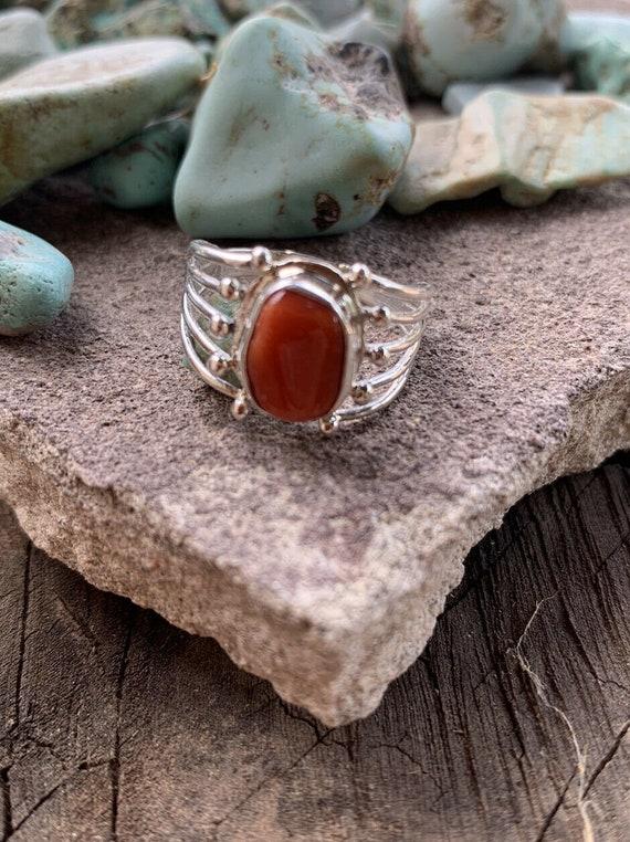 Navajo Natural Coral Sterling Silver Ring