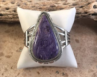 Navajo Charoite And Sterling Silver Cuff Bracelet By Russell Sam