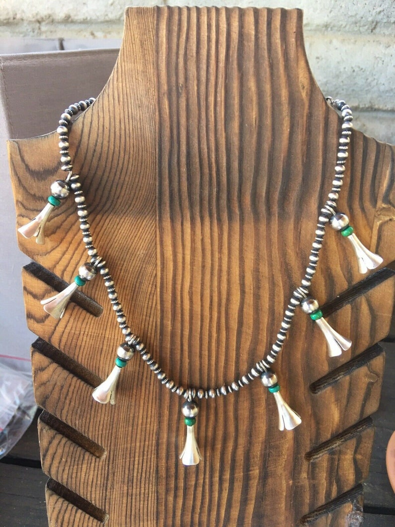 Navajo Turquoise And Sterling Silver Blossom Necklace