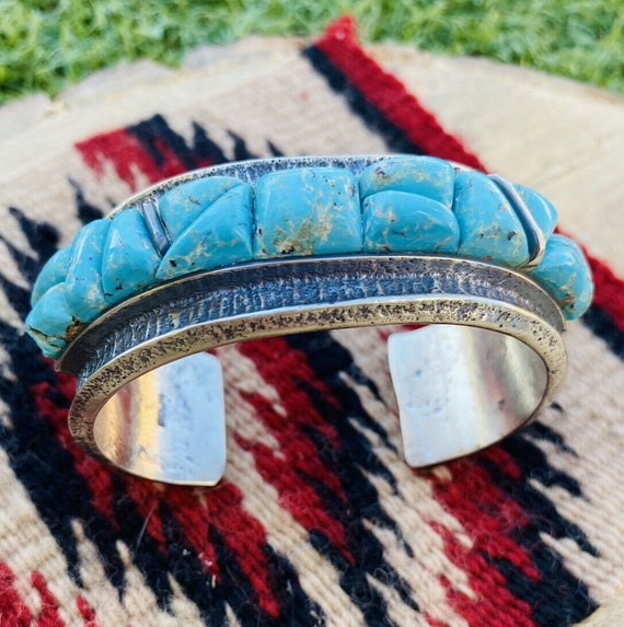 Abstract 1970/'s Long Teardrop Inlay Navajo Ring w Sleeping Beauty Turquoise /& Red Coral