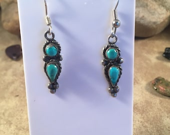 Vintage Navajo Turquoise and Sterling Silver Dangle Earrings