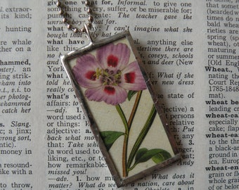 Pink flowers, vintage botanical illustrations, upcycled to hand-soldered glass pendant, choice of necklace, bookmark, keychain, bag charm