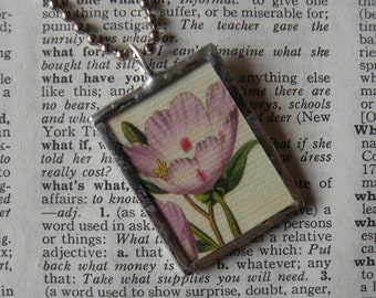 Pink flowers, vintage botanical illustrations, up-cycled to hand-soldered glass pendant, choice of necklace, bookmark, keychain, bag charm