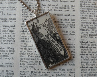 Vintage pigs, original 1920s children's book illustrations, hand-soldered glass pendant, choice of necklace, bookmark, keychain, bag charm