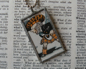 Scotsman, highland cattle, vintage children's book illustrations, soldered glass pendant, choice of necklace, bookmark, keychain, bag charm