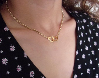 Necklace golden handcuff and chain