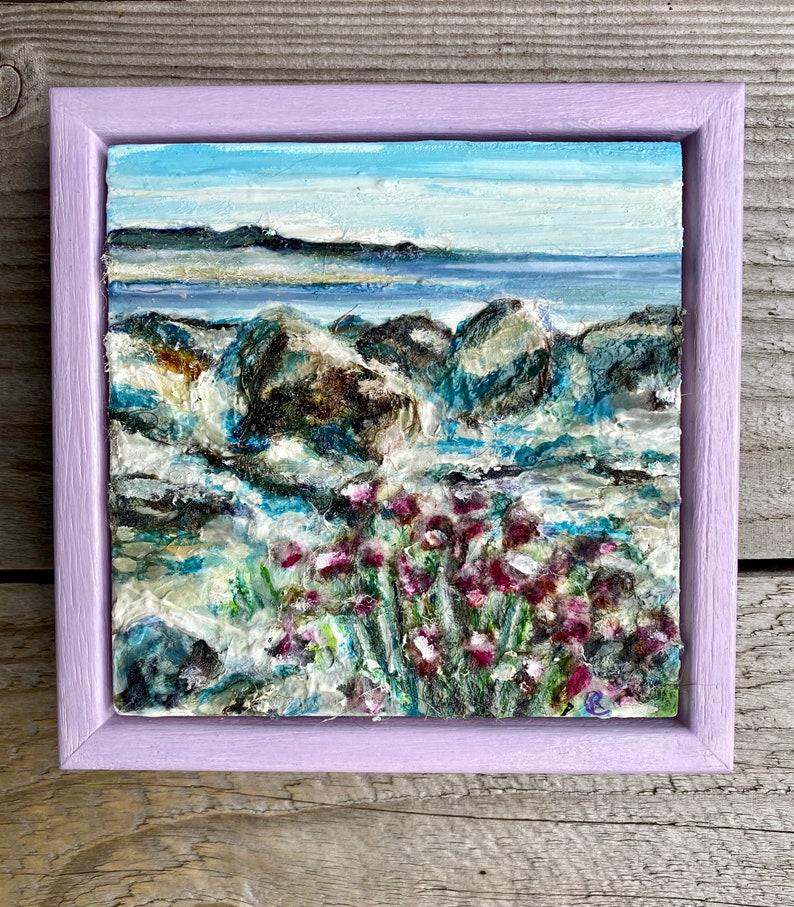 View over Morecambe Bay.  Miniature Framed original art piece. image 0