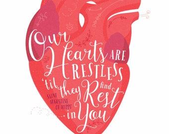 Restless Heart, St. Augustine, anatomical heart, 8x10 art print, Catholic art, inspirational, modern