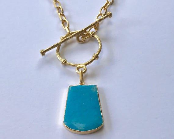 "Turquoise Necklace , Pendant Necklace, Chain Pendant Necklace with Turquoise, Toggle Clasp, 22K Gold Plated, 22"" Long"