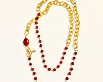 "Ruby and Gold Link Chain Necklace, Ruby Bezel Connector, Double Wrap Necklace, 22K Gold Plated Toggle Clasp, 36"" Long"