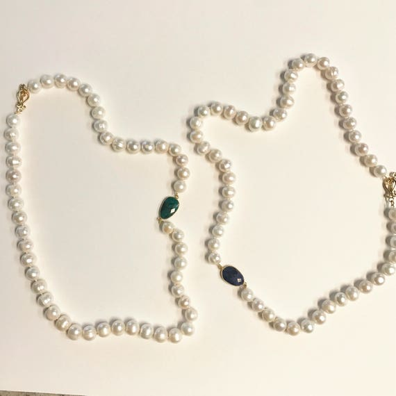 "Pearl Necklace with Bezel Emerald or Sapphire Connector, White Potato White Pearls, 22K gold Plated Toggle Clasp,  26"" Long"