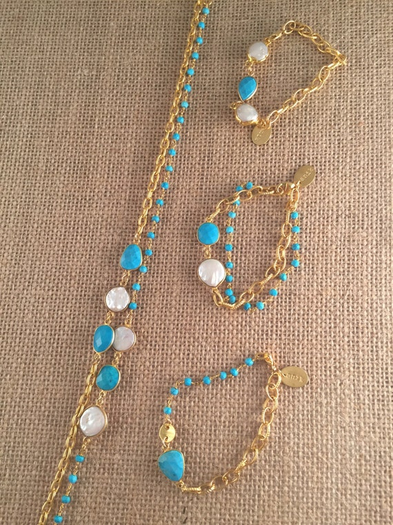 Turquoise Rosary Bead Type with Link Chain Bracelet, Turquoise and Pearl gemstones, 22K goldplated, Birthstone, Stackable, HOLBOX
