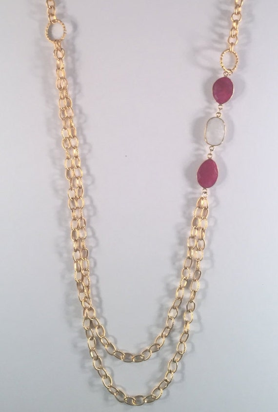 "Ruby Gold Necklace with Moonstone, Gold Texture Circle Connectors, Layer Necklace, Long Necklace, 22K Gold Plated, 38"" Total Length"