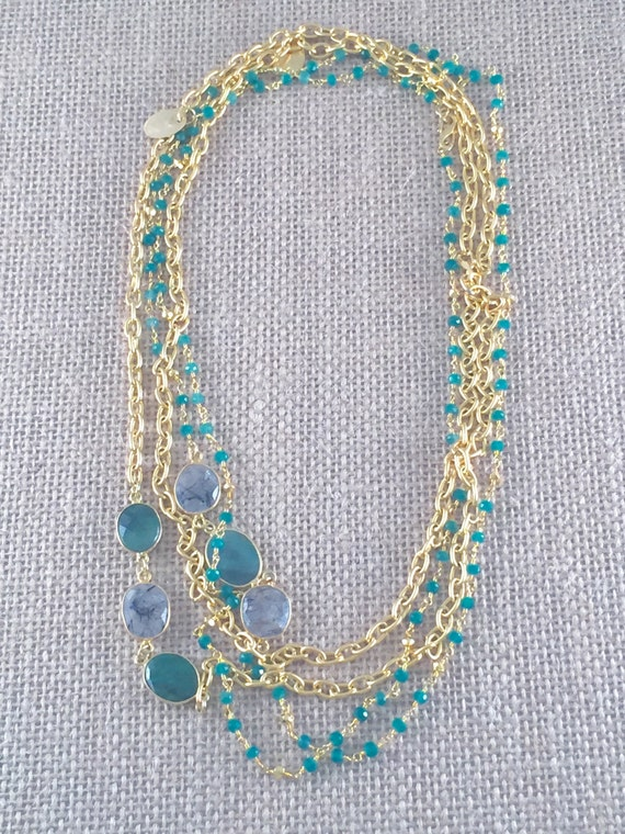 "Rosary Type Beaded Emerald Necklace with Emerald & Rutile bezel gemstones -22K Goldplated-44"" long-Double Wrap-Layer-SINTRA II"