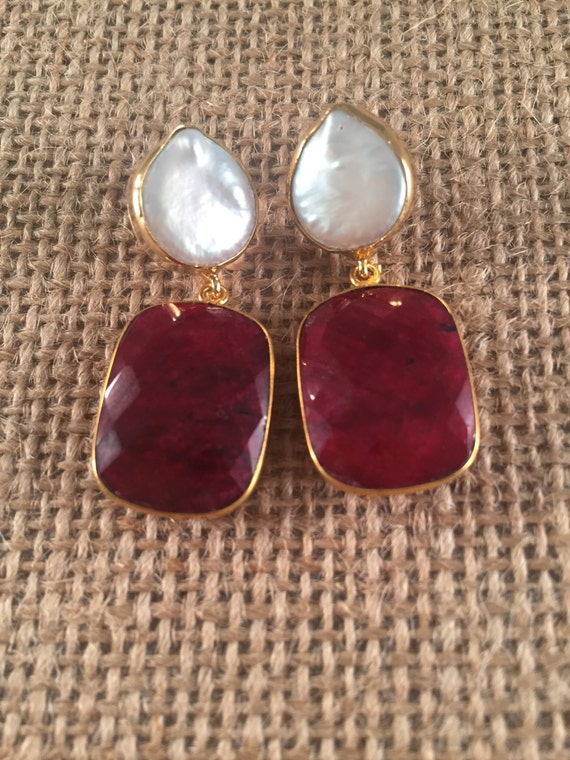 Baroque Pearl and Ruby Post Earrings,  22k Gold Plated and 24k Gold Plated, 1.5 inches (3.8 cm) total length