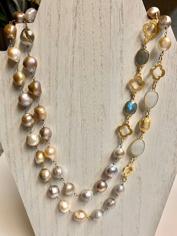 "Long Baroque Pearl Necklace with Labradorites, Moonstones & Gold Charms/Nugget Pearl Necklace/Multicolor Pearl Necklace/Magnetic Clasp/42"" L"