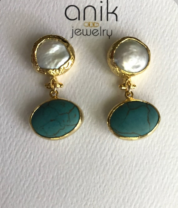 "Pearl and Turquoise Earrings, Gold Bezel Keshi Pearls, Oval Turquoises, 14K Gold Plated, 1.25"" Long"